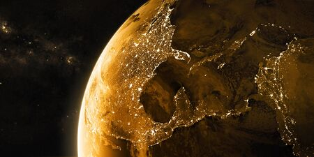 View on the night Earth with city lights. North America, Caribbean and South America region. Golden and yellow color scheme. Elements of this image furnished by NASA. 3d illustration Stock Photo