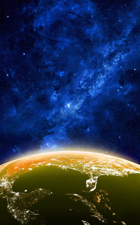 starfield: Earth at night as seen from space with blue, glowing atmosphere and space at the top. Perfect for illustrations. Elements of this image furnished by NASA. 3d illustration