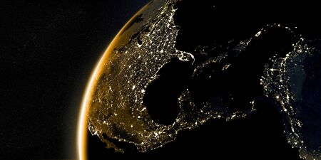 View on the night Earth with city lights on the dark side. Golden and yellow color scheme. North America, Caribbean and South America region.  3d illustration
