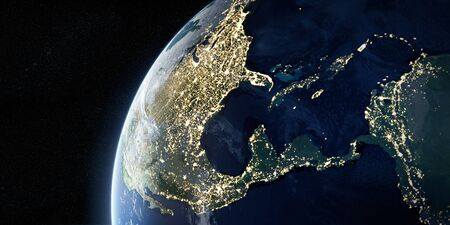 View on the night Earth with city lights glowing on the dark side. North America, Caribbean and South America region.