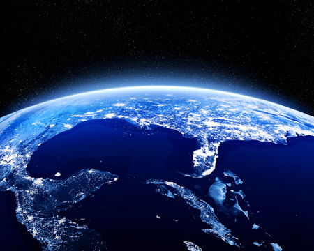 starfield: Earth at night as seen from space with blue, glowing atmosphere and space at the top. Perfect for illustrations.   3d illustration