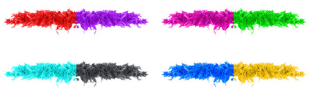 Red, magenta, purple, green, blue, cyan, black and yellow parts of feather boa on white background