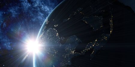 View on the night Earth with city lights glowing on the dark side. Sunrise in space with prominent sun flare and sun streaks. Asia region. Elements of this image furnished by NASA. 3d illustration