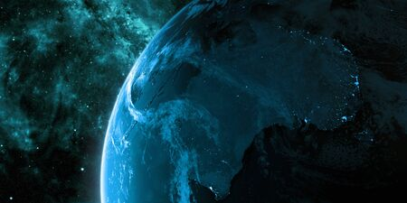 View on the night Earth with city lights. Planet is covered in clouds. Australia and Oceania region. Blue and cyan color scheme. Elements of this image furnished by NASA. 3d illustration