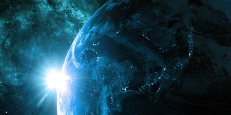 Zicht op de nacht Aarde met stadslichten. Regio Azië. Blauw en cyaan kleurenschema. Elementen van deze afbeelding geleverd door NASA. 3D illustratie