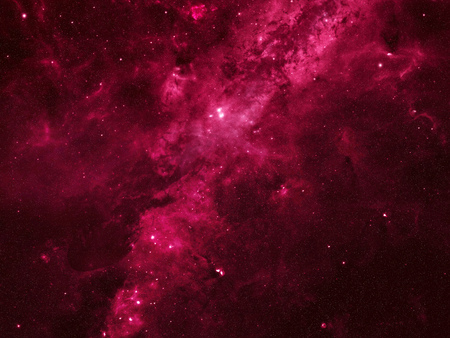 Abstract red space background similar to Milky Way filled with stars, bright and black nebulae, constellations, galaxies and black holes.