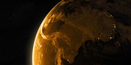 View on the night Earth with city lights glowing on the dark side. Australia and Oceania region. Golden, orange and yellow color scheme. Elements of this image furnished by NASA. 3d illustration