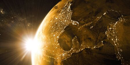 View on the night Earth with city lights on the dark side. North America, Caribbean and South America region. Golden and yellow color scheme. Elements of this image furnished by NASA. 3d illustration