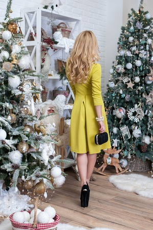 Luxury christmas woman in fashion interior Standard-Bild
