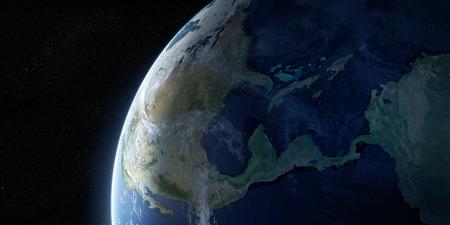 밤에 볼 도시의 불빛과 함께 지구. 행성은 구름으로 덮여있다. 북미, 카리브해 및 남미 지역. 이 이미지의 요소는 NASA에서 제공 한 것입니다. 차원 그림 스톡 콘텐츠