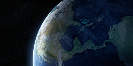 View on the night Earth with no city lights. Planet is covered in clouds. North America, Caribbean and South America region. Elements of this image furnished by NASA. 3d illustration