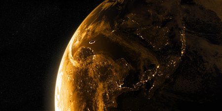 Sunrise in space. View on the night Earth with city lights. Asia region. Golden, orange and yellow color scheme. Elements of this image furnished by NASA. 3d illustration
