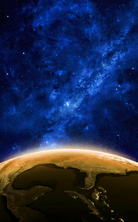 Earth at night as seen from space with blue, glowing atmosphere and space at the top. Perfect for illustrations. Elements of this image furnished by NASA. 3d illustration