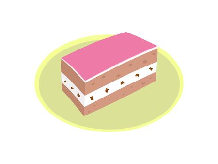 The chiffon strawberry cake on the yellow plate Иллюстрация