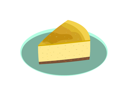 The New York style cheese cake on the green plate  イラスト・ベクター素材