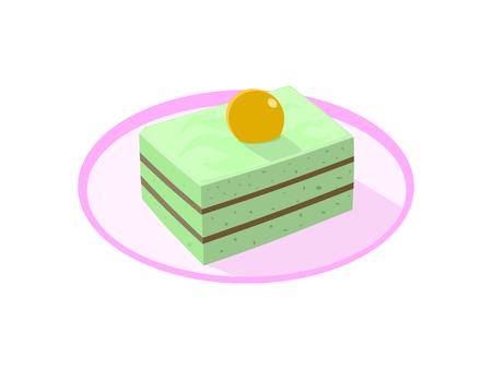 The pandanus cake topping with gold cherry on the pink plate Illustration