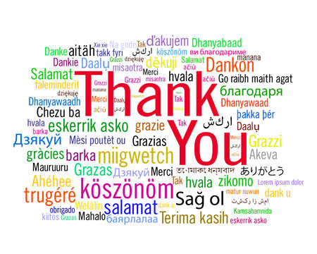 A cloud of words of the phrase Thank You in different languages. Thank you collage vector isolated on white background.