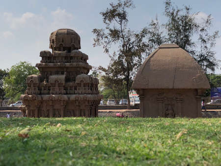 Pancha Rathas is an example of monolith Indian rock-cut architecture. Resembling a chariot ratha, it is carved out of a single, long stone of pink granite.