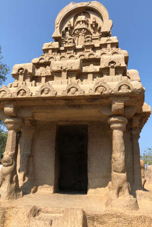 Nakula Sahadeva Ratha in Pancha Rathas complex at Mahabalipuram, Tamil nadu, India