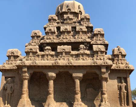 Drarmaraja Ratha in Pancha Rathas complex at Mahabalipuram, Tamil nadu, India