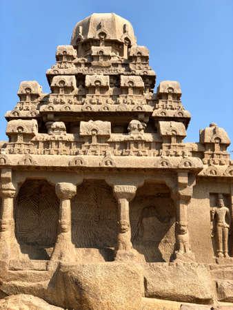 Drarmaraja Ratha in Pancha Rathas complex at Mahabalipuram, Tamil nadu, India Reklamní fotografie