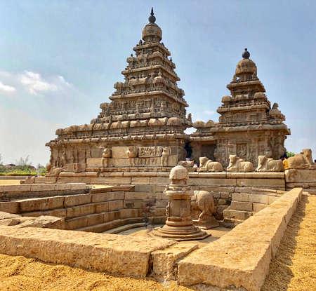 Shore temple in Mahabalipuram, Tamilnadu, India. It is one of the Group of Monuments at Mahabalipuram Reklamní fotografie