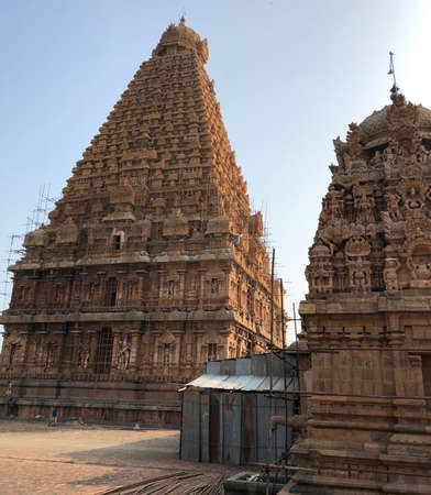 Brihadeeswarar temple in Thanjavur, Tamil nadu. This is the Hindu temple built in Dravidian architecture style.
