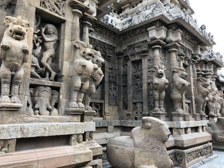 Sandstone carvings of Lion sculpture in the pillars of ancient kanchi Kailasanathar temple in Kanchipuram