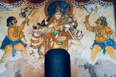 Lord shiva linga statue with unique Thanjavur paintings in historical Brihadeeswarar temple in Thanjavur, Tamilnadu. Stock Photo