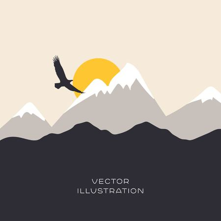 winter road: Landscape flat illustration with mountain and eagle Illustration