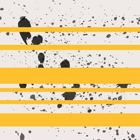 Black paint splash seamless background with yellow stripes Illustration