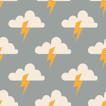 Cloud and lightning seamless pattern modern design