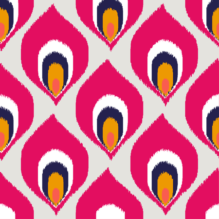 Ikat fabric texture geometric seamless pattern background