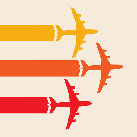 Plane silhouette in the sky colorful travel design background Illustration