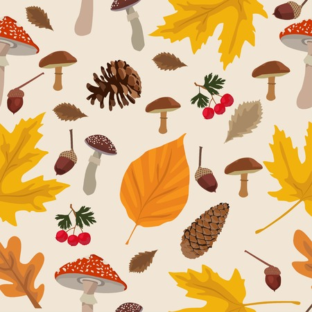 Autumn season yellow and orange leaves background vector seamless pattern with mushrooms, acorn, corn, hawthorn