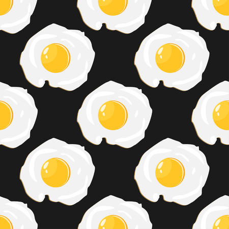 Fried eggs pattern colorful food seamless background Illustration