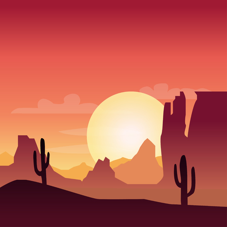 sand dunes: Desert landscape background with cactus silhouette on sunset Illustration