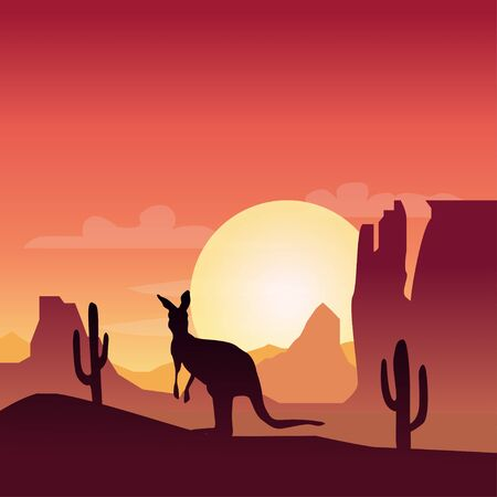 Landscape silhouette illustration with kangaroo and sunset in desert Illustration