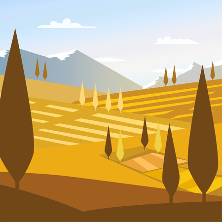 Nature landscape background travel flat design mountain Illustration