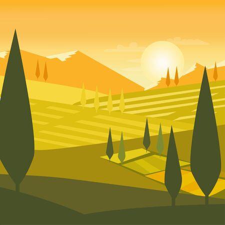 Nature landscape background travel flat design mountain Illustration