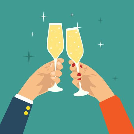 Hand holding champagne glass flat design party background Illustration