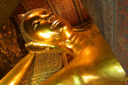 reclining: The reclining Buddha,In Bangkok  of Thailand Stock Photo