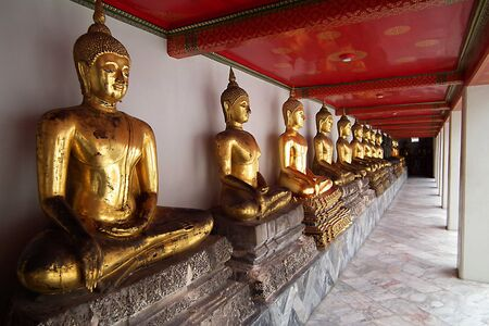 Many of Lord Buddha , In Bangkok  of Thailand Stock Photo