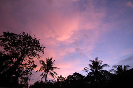 The evening sky,Rural areas of southern Thailand