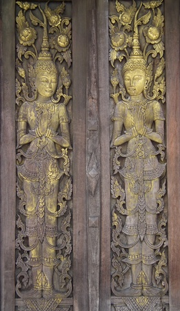 Wood carvings, the temple of Thailand.
