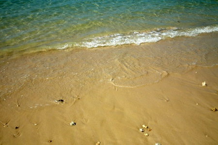 Sprinkle sand and clear water,Krabi,Thailand Stock Photo
