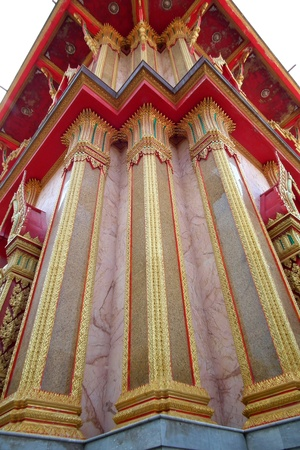 Comment on this column, the temple of Thailand  Stock Photo