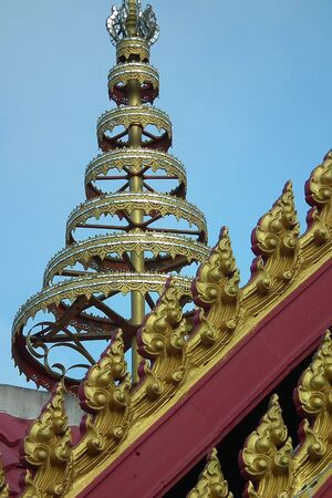 Local birds on the roof, the temple of Thailand  Stock Photo