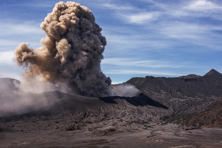 Ash coming from crater of active volcano Mt Bromo during eruption in January 2016,  Indonesia