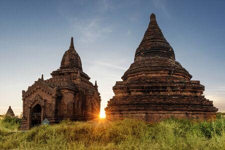 Beautiful sunset view of Pagodas, Bagan, Myanmar